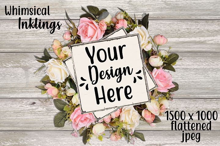Rose Wreath Sign Mock Up