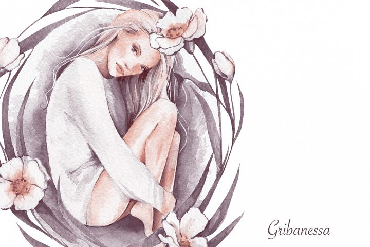 Eve. Watercolor beautiful girl