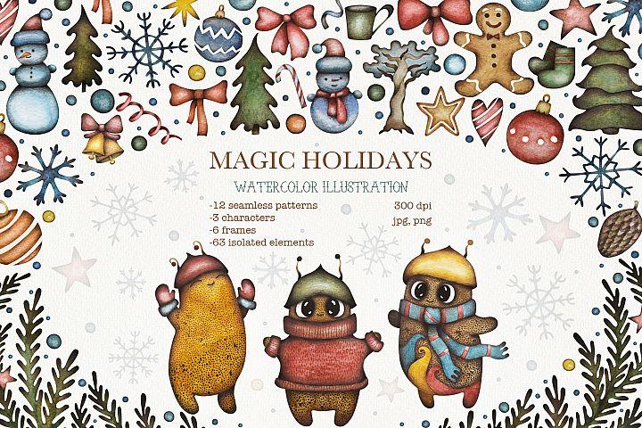 Magic Holidays watercolor clipart