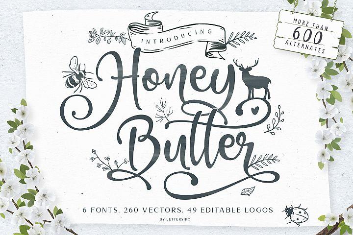 Honey Butter Font Trio & 260 Vectors