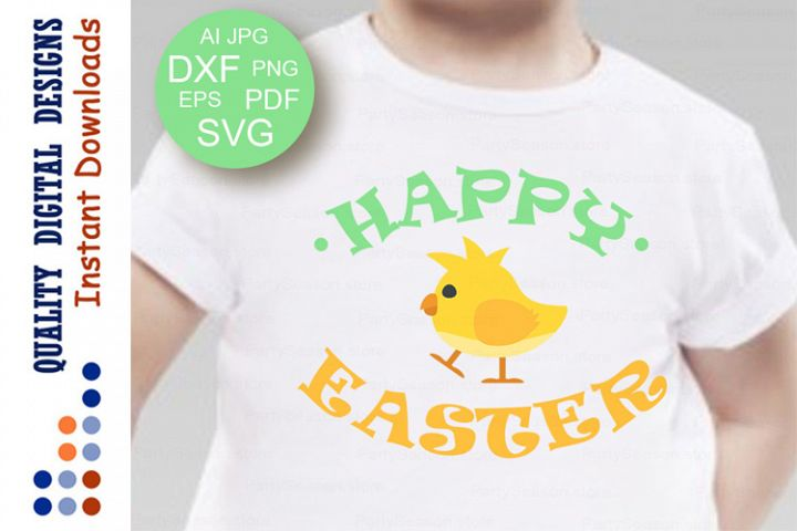 Happy Easter svg files Clipart Yellow Chicken