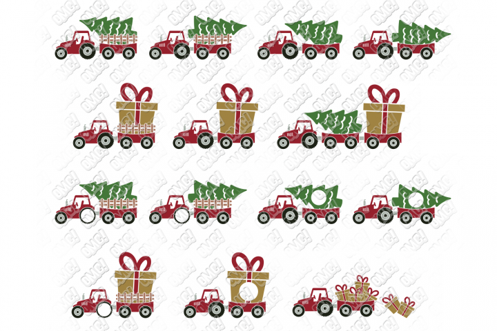 Christmas Tractor SVG Tree Farm in SVG, DXF, PNG, EPS, JPEG