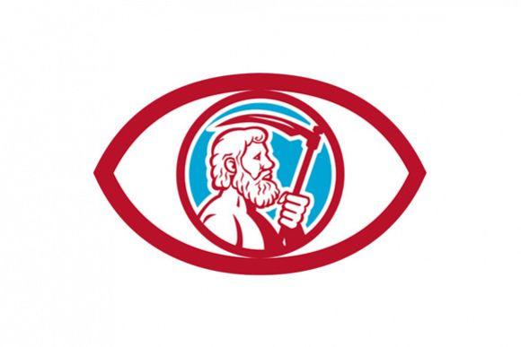 Cronus Holding Scythe Eye Retro By Patr Design Bundles