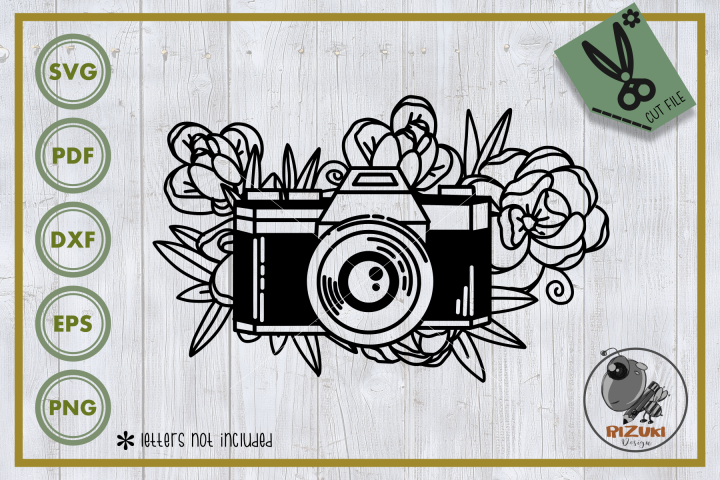 Photography svg, camera with floral vector, cut file
