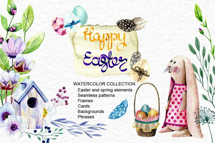 Happy Easter. Watercolor collection