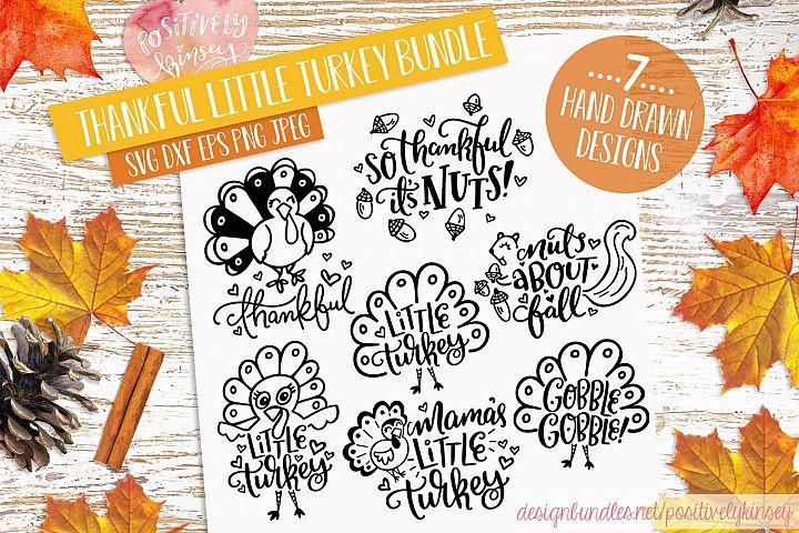 Kids Thanksgiving SVG Bundle! Thankful Little Turkey SVGs
