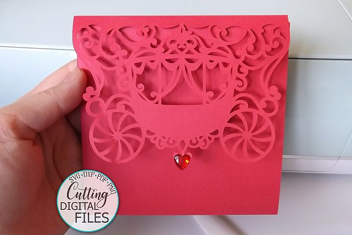 Princess 5x5 trifold envelope wedding invitation laser cut example image 5