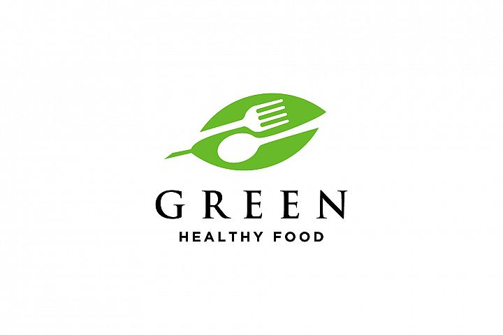 green healthy food logo