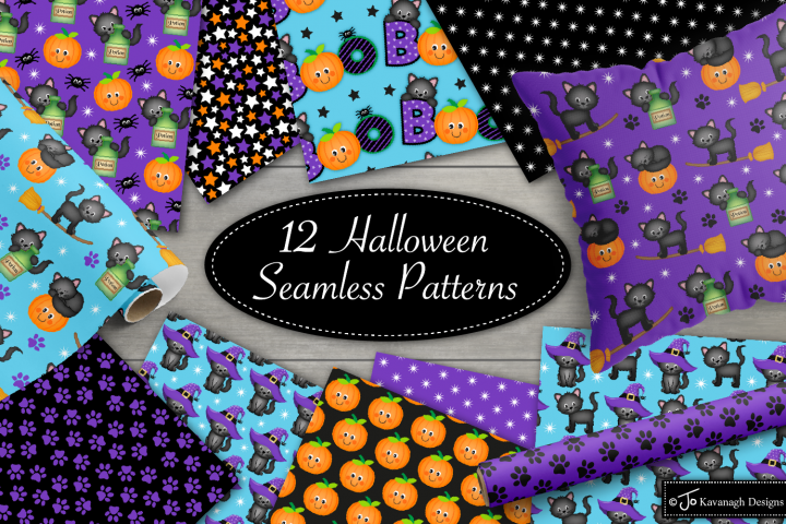 Halloween Digital Papers,Halloween Cat Seamless Patterns-P44