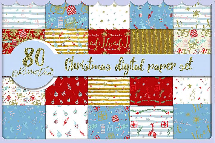 80 Mega Pack Christmas Paper Digital Seamless Kit