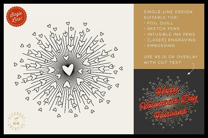 Foil Quill HEART BURST single line sketch design SVG file
