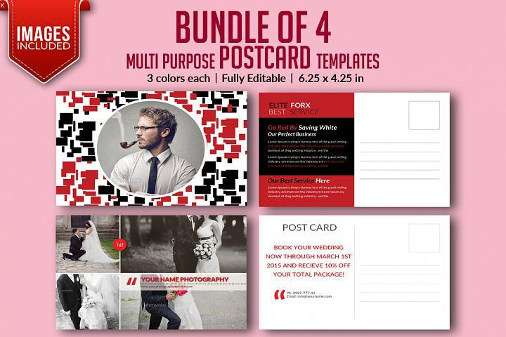 Bundle of 4 Multi Purpose PostCards