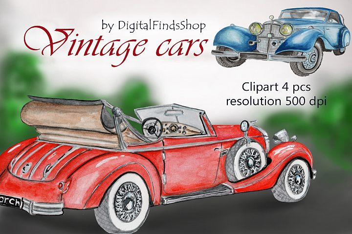 Vintage car clipart, sublimation watercolor clipart, retro