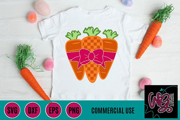 Easter Bunny Carrots With Bow SVG DXF PNG EPS Comm