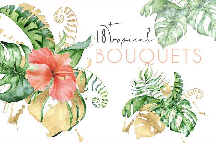 18 Tropical bouquets watercolor jungle clipart