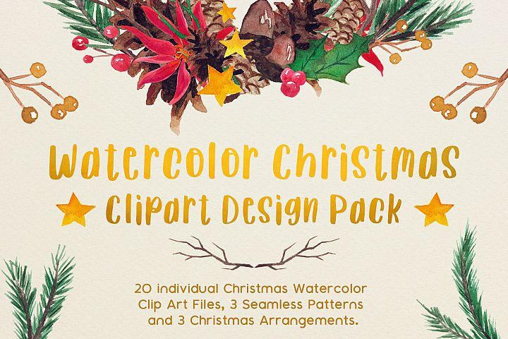 Very Merry Christmas Watercolor Clip Art Pack!