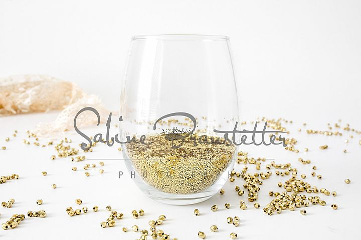 Styled Stock Photography Stemless Wine Glass Glitter Mockup