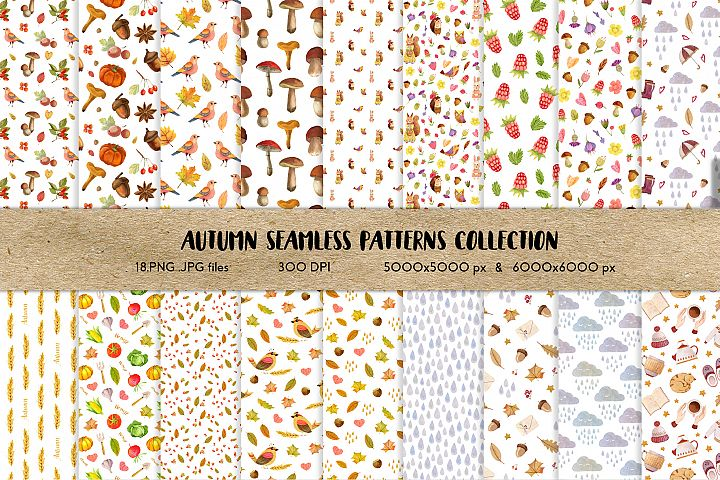Watercolor Autumn Seamless Patterns Collection