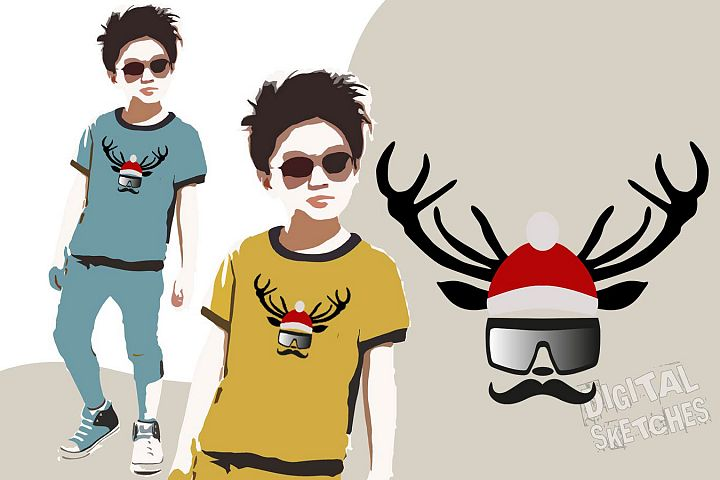 Deer Head Vector Graphic, Christmas SVG, Santa Claus Clipart