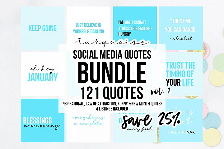 121 x Blue Social Media Quotes Bundle - Includes 4 listings
