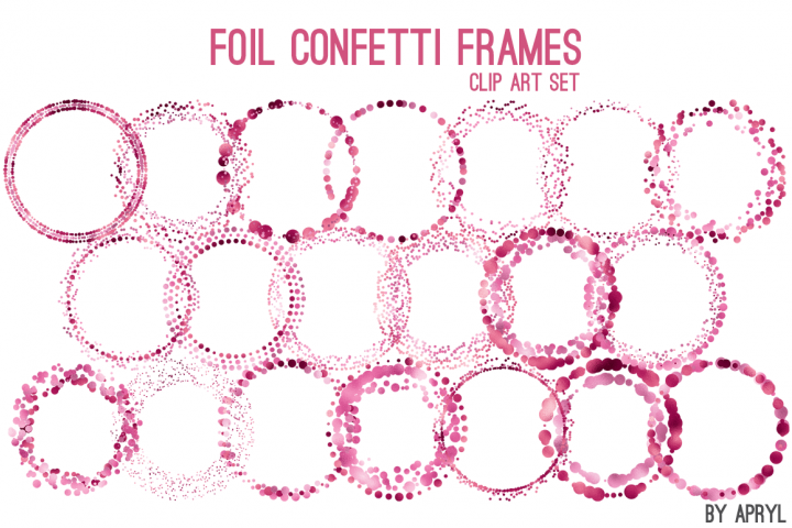 Pink Foil Round Confetti Frames