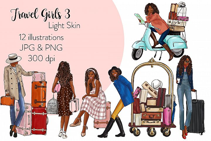 Fashion illustration clipart - Travel Girls 3 - Dark Skin
