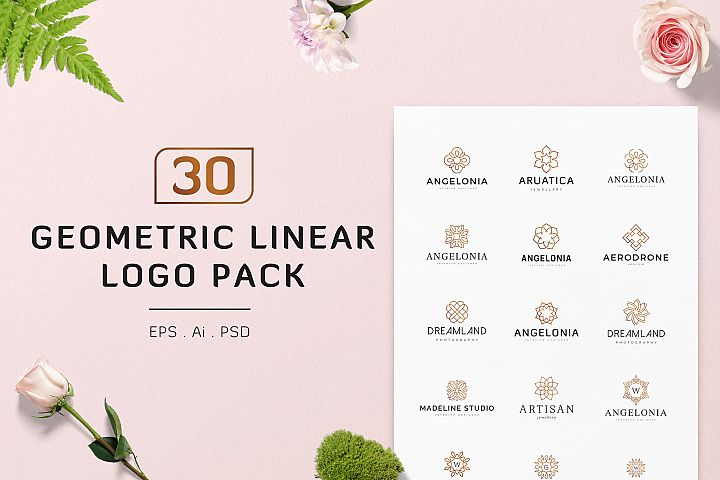 30 Geometric Linear Logo Pack