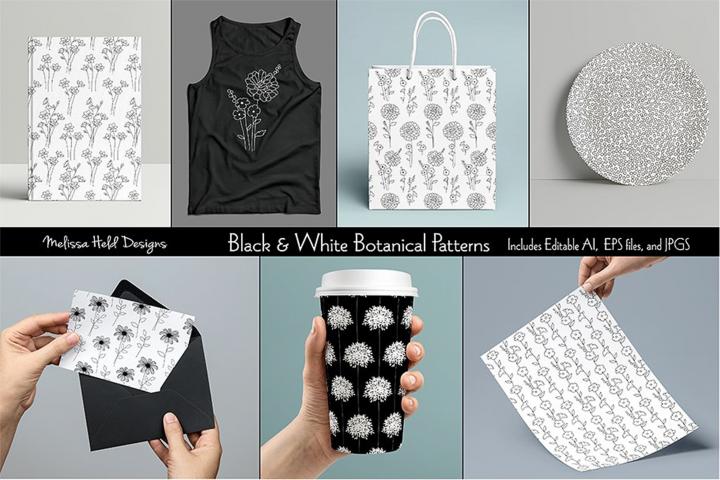 Black & White Botanical Patterns
