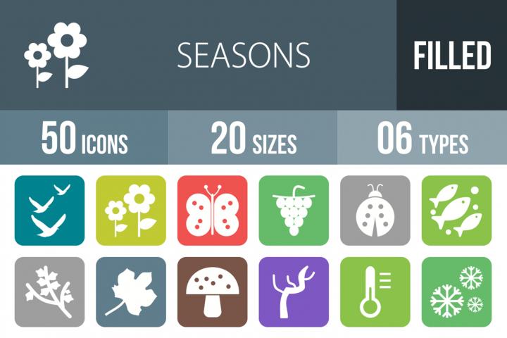 50 Seasons Filled Round Corner Icons