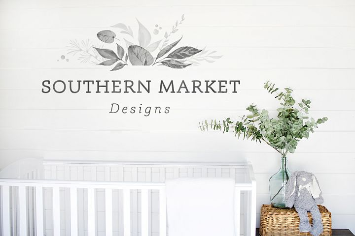 Neutral Nursery Shiplap Blank Wall Mock Up Styled Photo