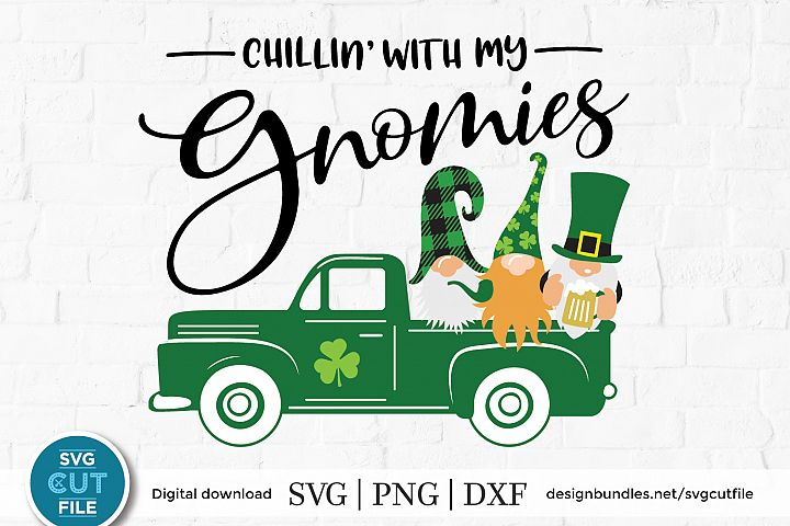 St patricks day gnomes with old truck - an SVG for crafters