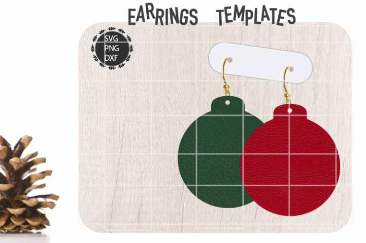 Christmas Bulb Earrings Svg, Christmas Earrings Svg Template