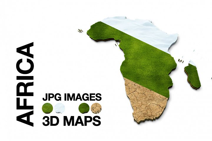 Africa 3D Maps Images Dry Earth Snow Grass Terrain JPG