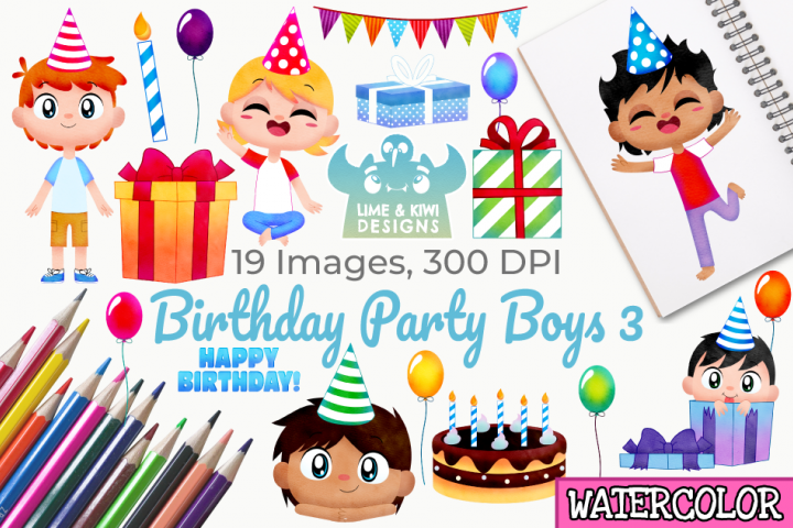 Birthday Party Boys 3 Watercolor Clipart, Instant Download