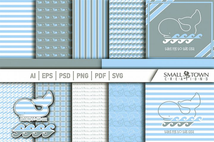 Whale, Nautical, Ocean, pattern paper, PRINT, CUT & DESIGN
