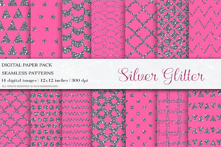 Pink Silver Glitter Digital Papers, Wedding Invitation Paper