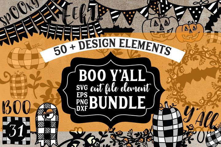 Boo YAll Farmhouse Halloween Clip Art, Cut File Bundle