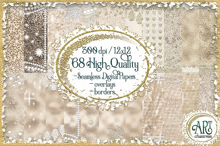 Champagne Ivory Gold Seamless Digital Papers,Border,Overlay