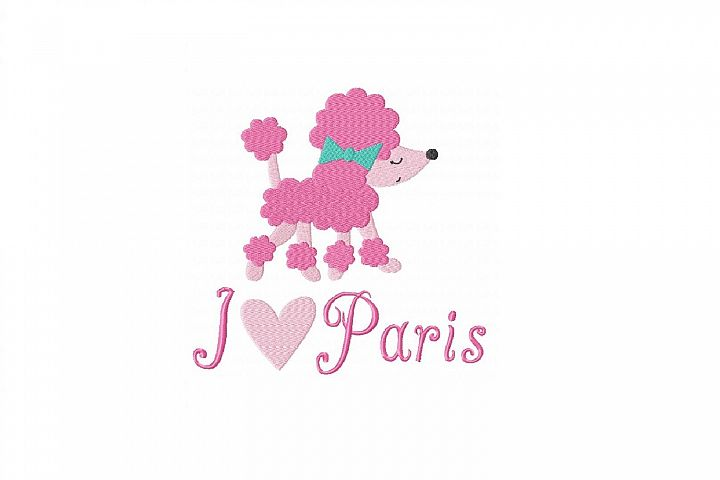 I Love Paris Poodle Machine Embroidery Design