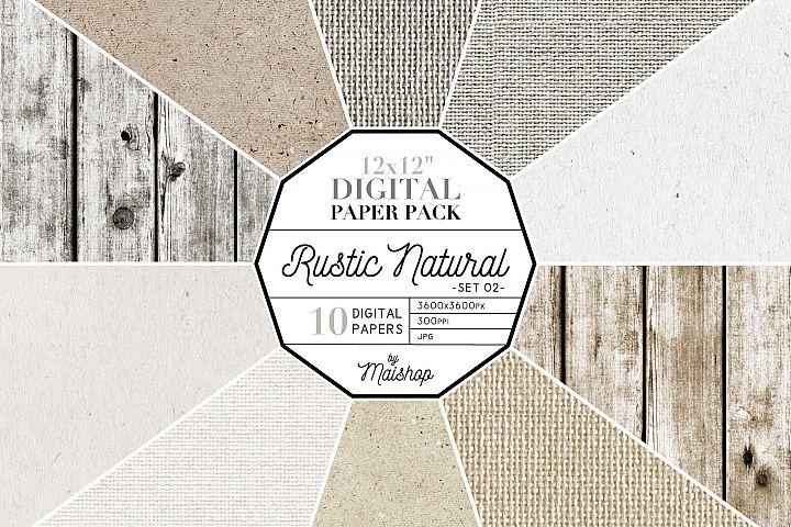 Printable Digital Paper Pack - Rustic Natural Set 02