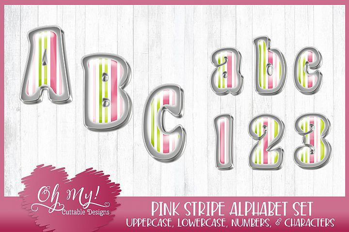 Pink Stripe Alphabet Bundle Clipart Graphics Word Art