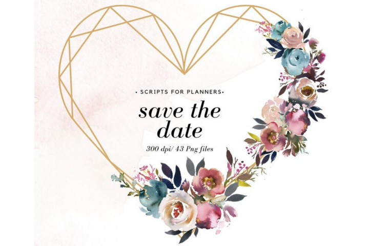 43 Save The Date clipart, Wedding Photoshop Clipart Overlay