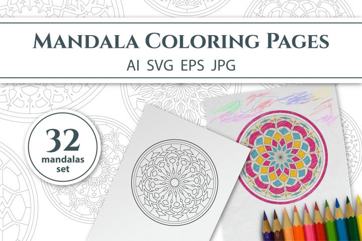 32 Mandalas Coloring Pages SVG EPS AI JPG