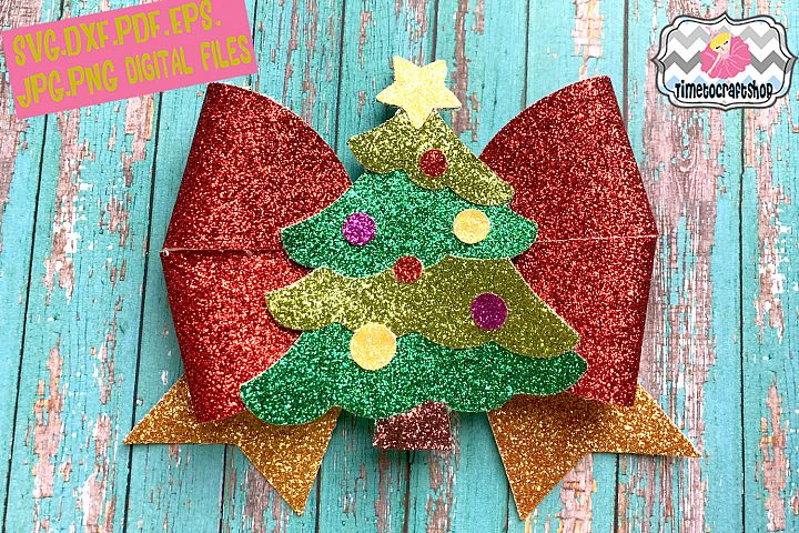 Holiday Christmas Tree Hair Bow Template