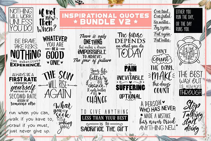 SALE! 20 Inspirational quotes bundle V2, motivational Quotes