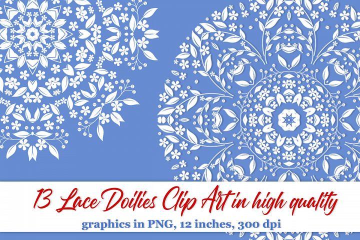 13 Lace doilies clipart Floral frame clipart Border clipart