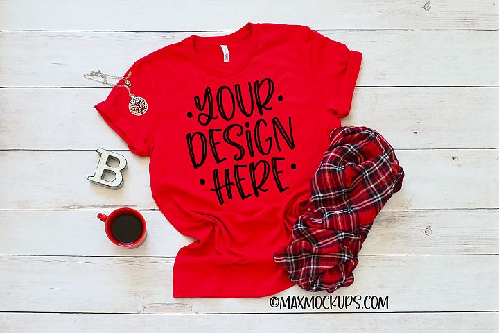 Red t-shirt mockup Bella Canvas 3001, coffee and plaid