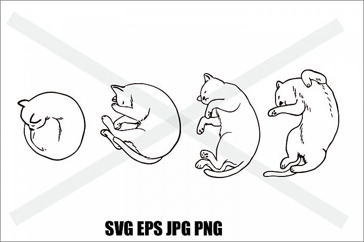 Cat Sleeping Set B - SVG EPS JPG