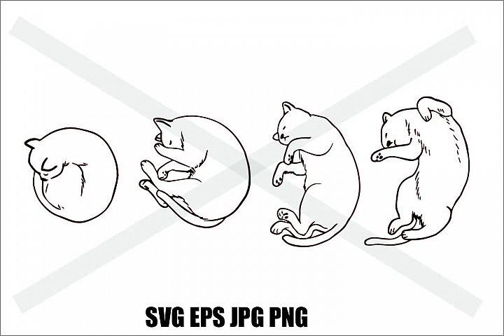 Cat Sleeping Set B - SVG EPS JPG