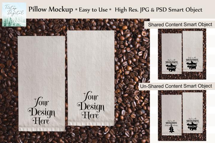 Kitchen Towel Mockup in Coffee Beans, PSD Smart Object & JPG